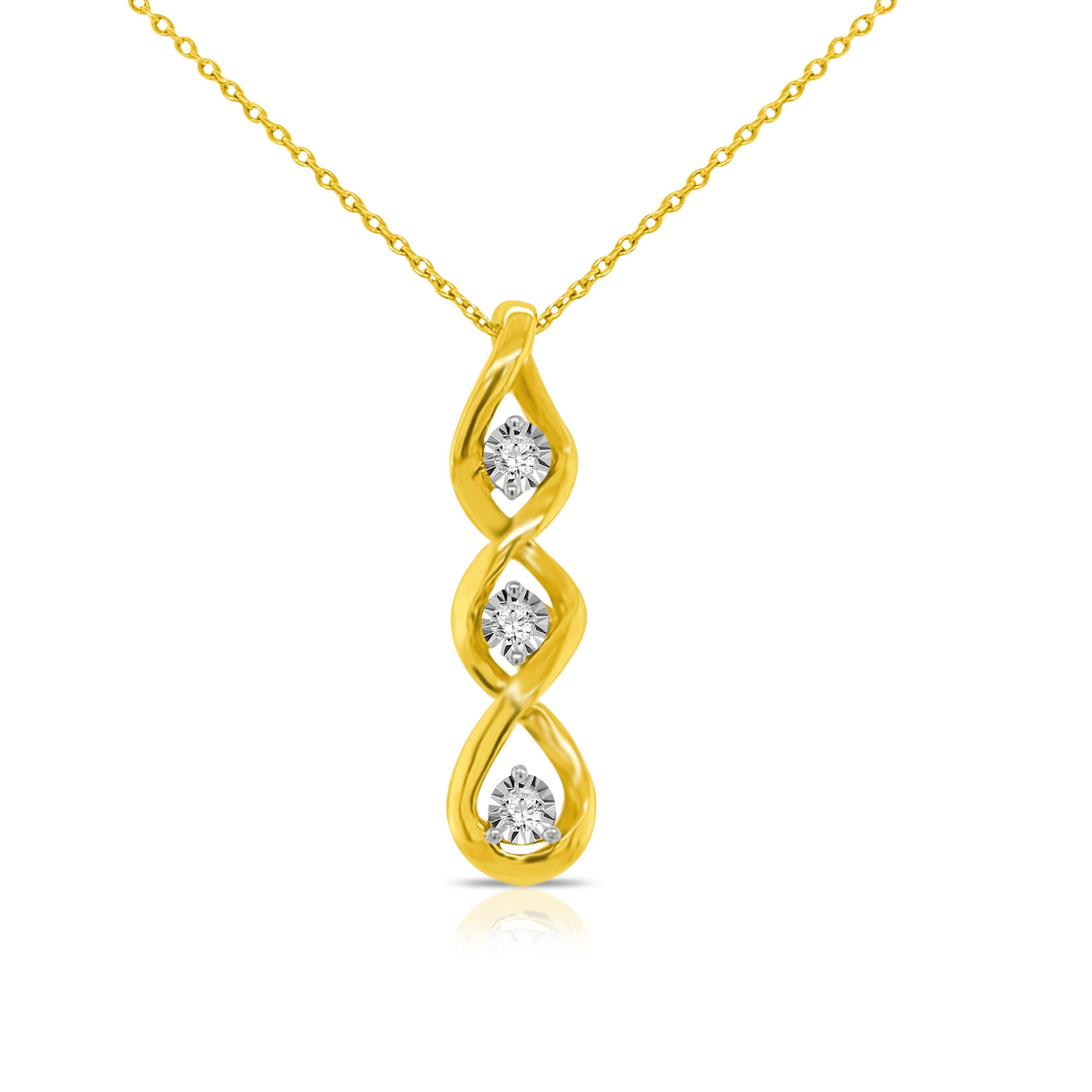 1/10 Carat 3-Stone Diamond Pendant in 10K Yellow Gold - 18