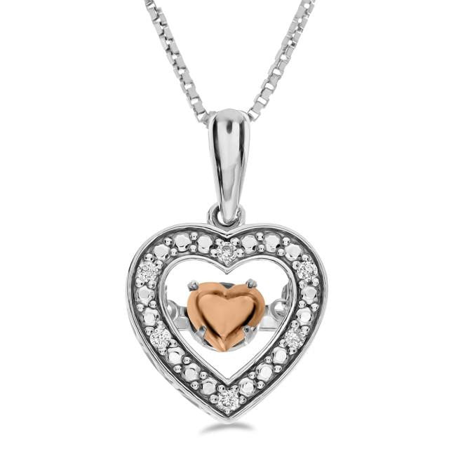 Diamond Accent Dancing Heart Pendant in Two Tone Sterling Silver - 18""