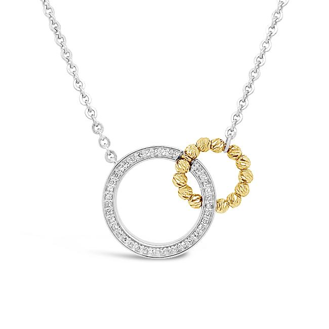 1/10 Carat Diamond Interlocking Circles Necklace in Sterling Silver - 18""
