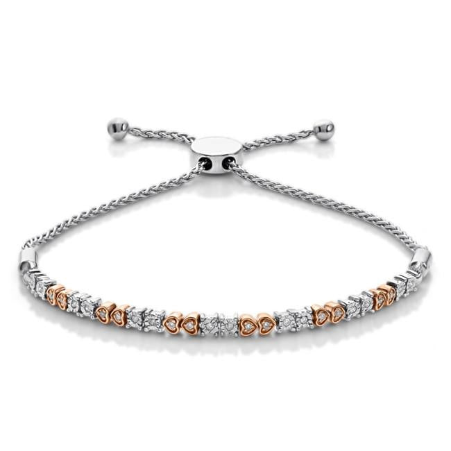 1/6 Carat Diamond Bolo Bracelet in Sterling Silver & 10K Rose Gold - 9.5""