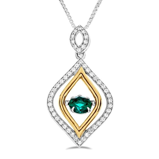 Created Green Emerald & White Sapphire Fancy Necklace in Sterling Silver - 18""