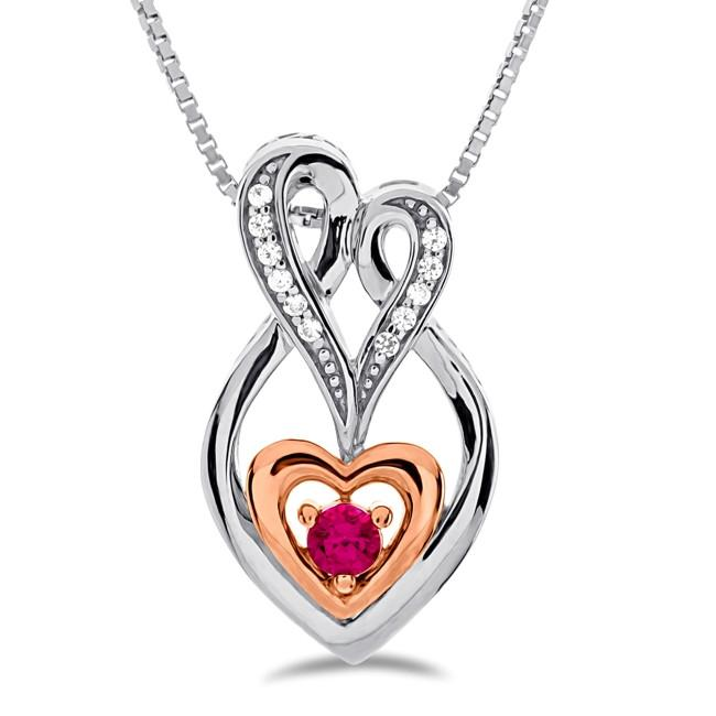 Created Ruby Infinity Heart Pendant in Sterling Silver - 18""