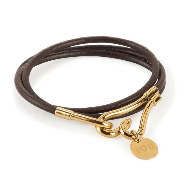 Designer Leather Wrap Bracelet with Gold Tone Heart & Charm