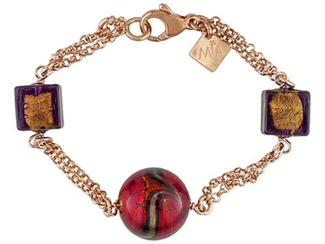 Mia By Netaya: Multicolor Murano Glass Bead 18K Rose Gold Over Bronze Bracelet