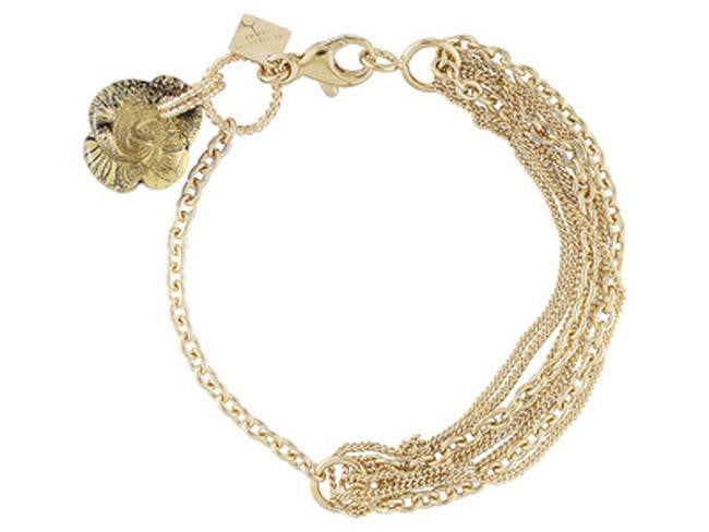 Mia By Netaya: Multicolor Floral Charm 18K Yellow Gold Over Bronze Bracelet