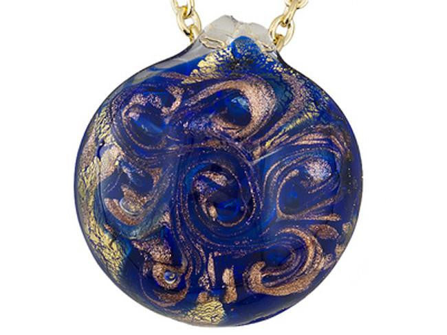 Mia By Netaya: Multicolor Swirl Murano Glass Pendant with 18K Gold Over Bronze Chain