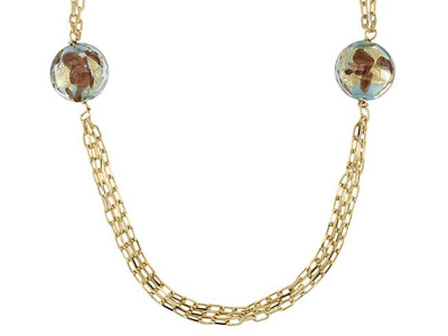 Mia By Netaya: Multicolor Murano Glass Bead 18K Yellow Gold Over Bronze Necklace