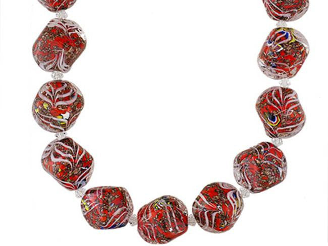Mia By Netaya: Multicolor Murano Glass Bead 18K Yellow Gold Over Bronze Strand Necklace