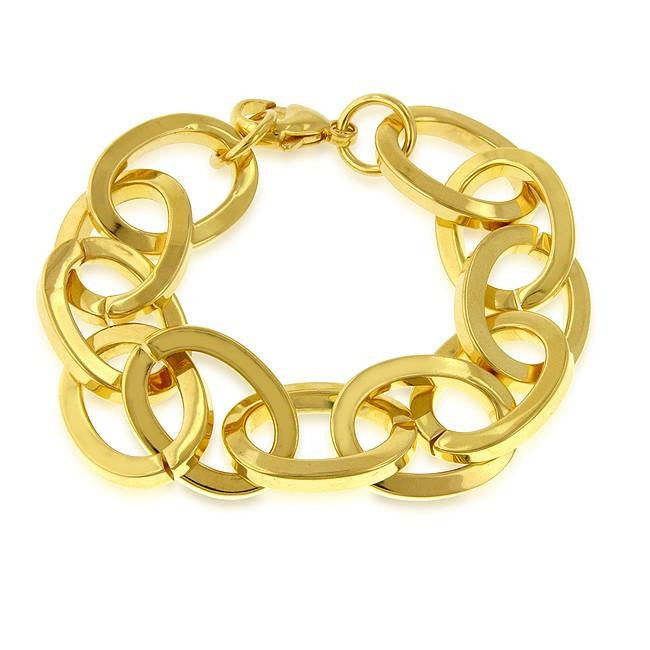 Grazie Italiana Collection: Gold-Plated Bronze Flat Oval Link Bracelet - 8""