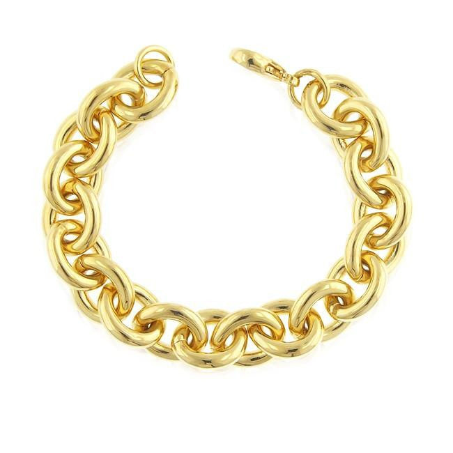 Grazie Italiana Collection: Gold-Plated Bronze Oval Link Bracelet - 8""