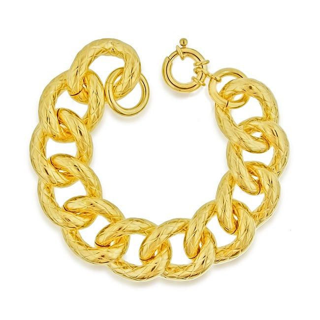 Grazie Italiana Collection: Gold-Plated Bronze Dotted Curb Link Bracelet - 8""