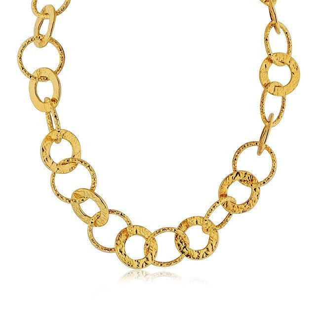 Grazie Italiana Collection: Gold-Plated Bronze Hammered Circle Link Necklace - 24""