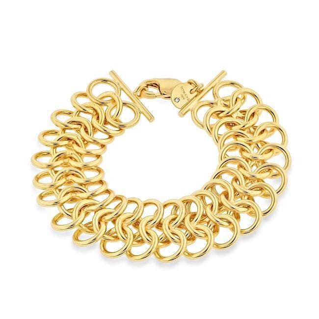 Grazie Italiana Collection: Gold-Plated Bronze Open Weave Bracelet - 8""