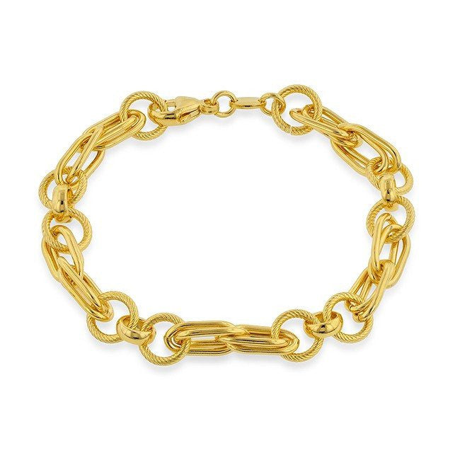 Grazie Italiana Collection: Gold-Plated Bronze Overlap Link Bracelet - 7.5""