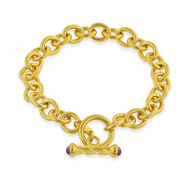 Grazie Italiana Collection: 18K Gold-Plated Bronze Polished Oval Link Toggle Bracelet - Size 7.5