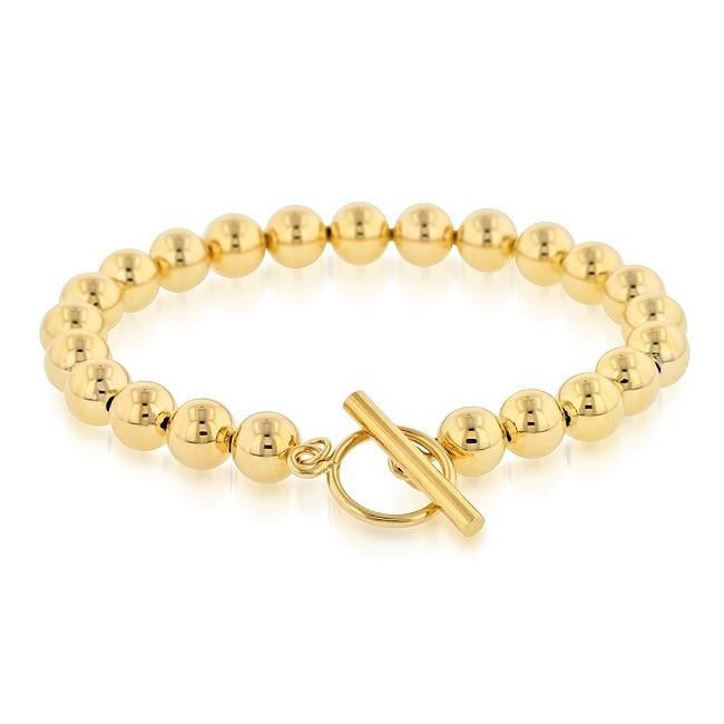 Grazie Italiana Collection: Gold-Plated Bronze Beaded Toggle Bracelet - 8.5""