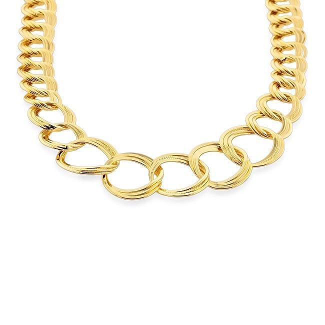 Grazie Italiana Collection: Gold-Plated Bronze Graduated Double Circle Link Necklace - 18""