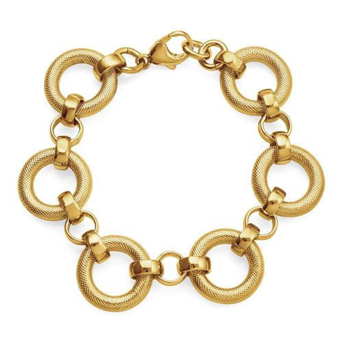 18K Yellow Gold/Bronze Matte Rolo Bracelet - 8""