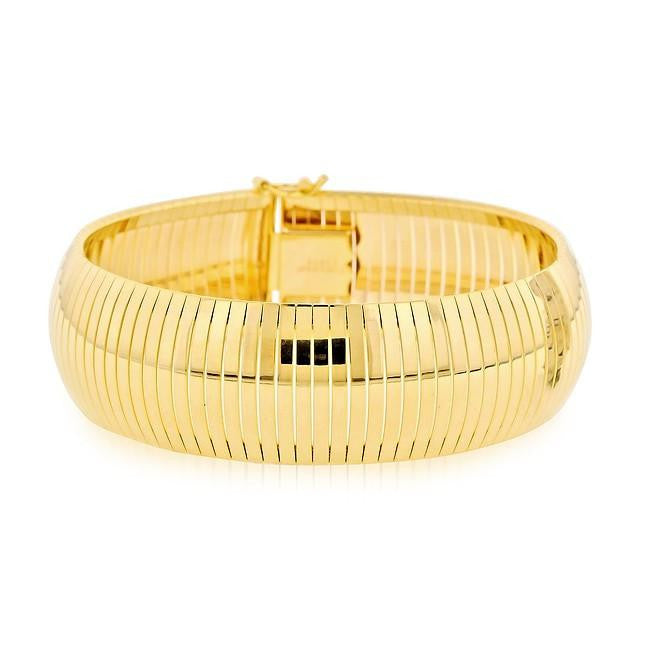 Grazie Italiana Collection: Gold-Plated Bronze Soft Bangle Bracelet - 7.25""