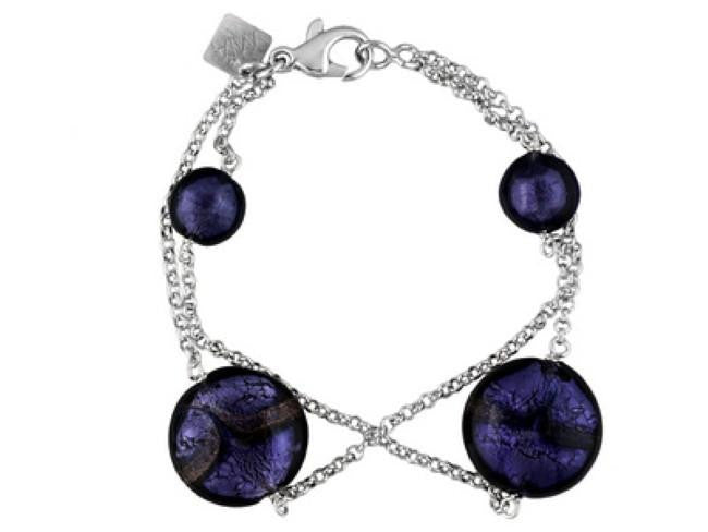 Mia By Netaya: Multicolor Murano Glass Bead Rhodium Over Bronze Station Bracelet