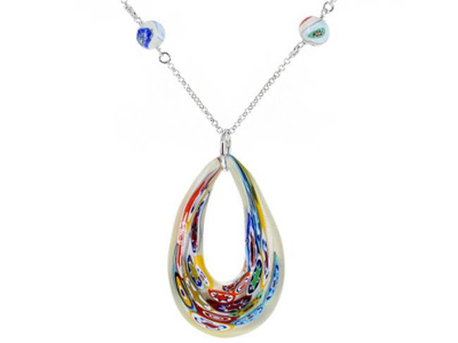 Mia By Netaya: Multicolor Floral Murano Glass Bead Rhodium Over Bronze Necklace