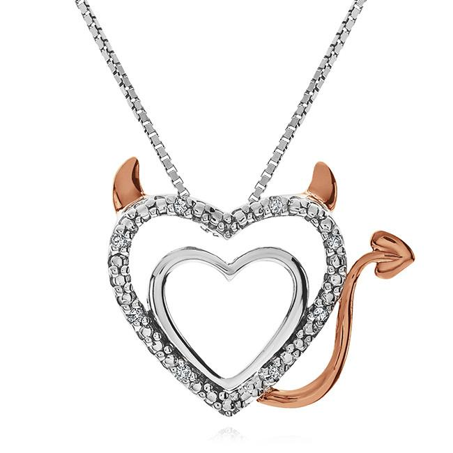 Diamond Accent Devil Double Heart Pendant in Two Tone Sterling Silver - 18""