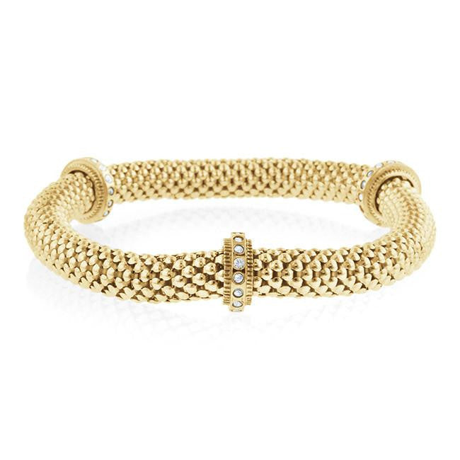 Gold-Plated Elastic Bracelet with Crystal Stations - 7""