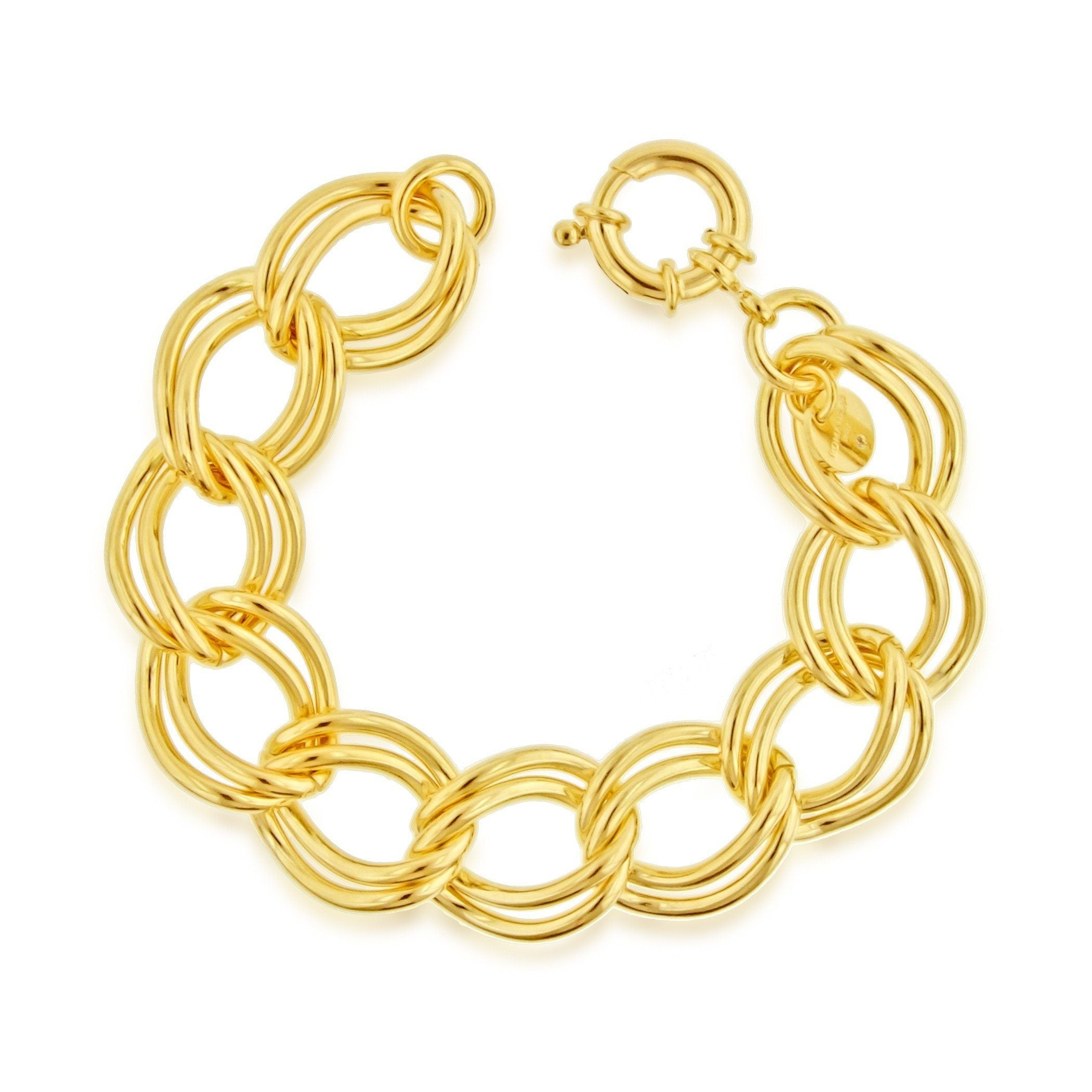 Grazie Italiana Collection: Gold-Plated Bronze Linear Garibaldi Double Link Bracelet - 8""