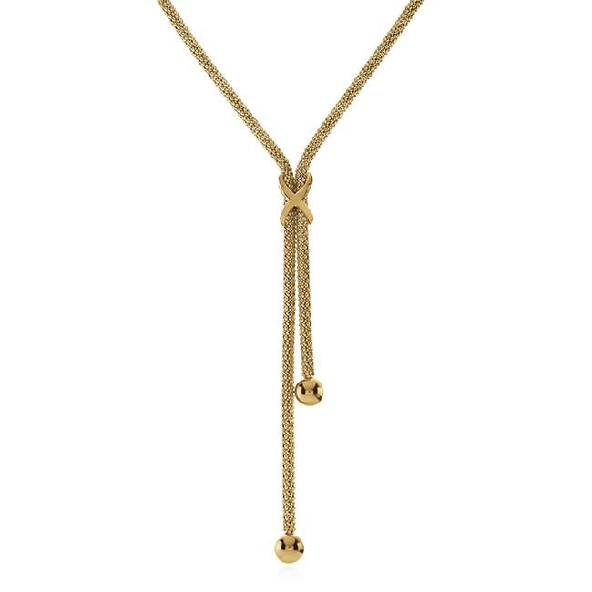 Grazie Italiana Collection: Bronze/18K Gold Lariat Necklace