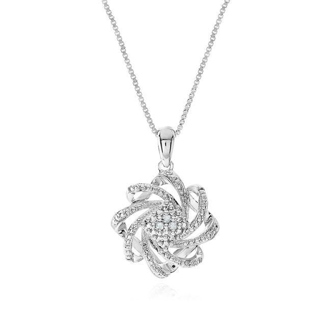 "Diamond Accent Knot Pendant with 18"" Chain"