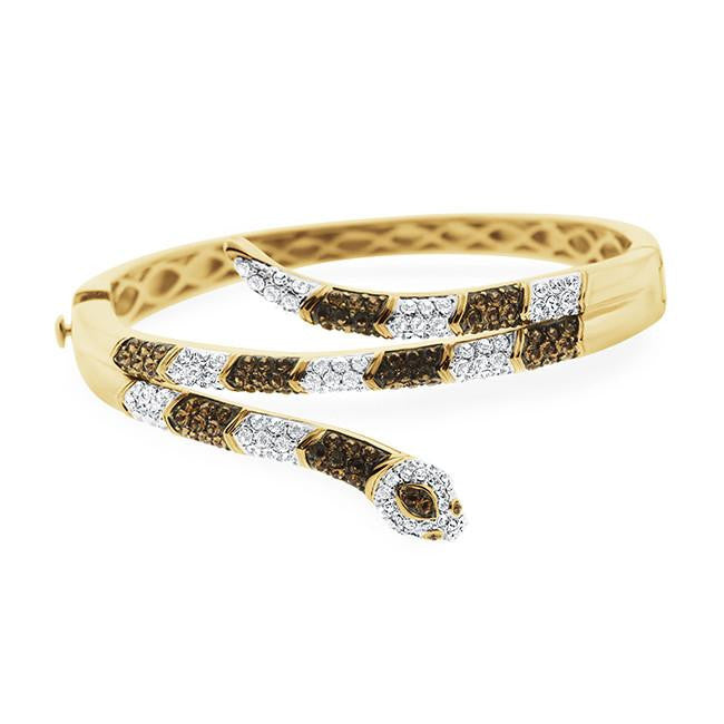 Brown & White Crystal Snake Bangle Bracelet in Gold-Plated Bronze - 7""