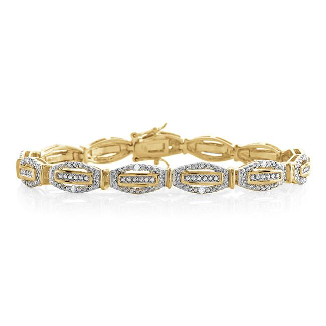 0.25 Carat Diamond Bracelet in Yellow Gold-Plated Bronze - 7.5""