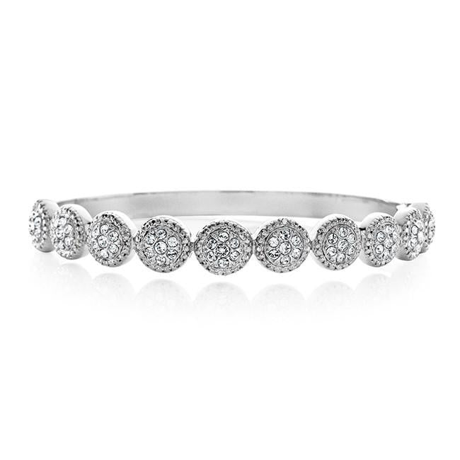 0.01 Ct Diamond & White Swarovski Crystal Bangle in Platinum-Plated Bronze - 7.5""