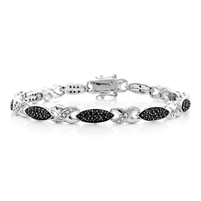 1/2 Carat Black & White Diamond X & O Design Bracelet