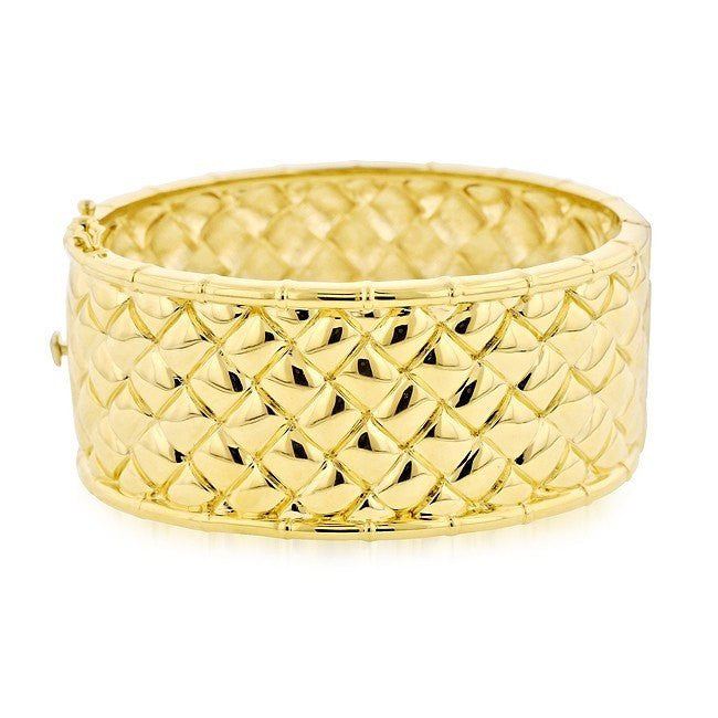 Grazie Italiana Collection: Gold-Plated Bronze Basket Weave Bangle Bracelet - 7.5""