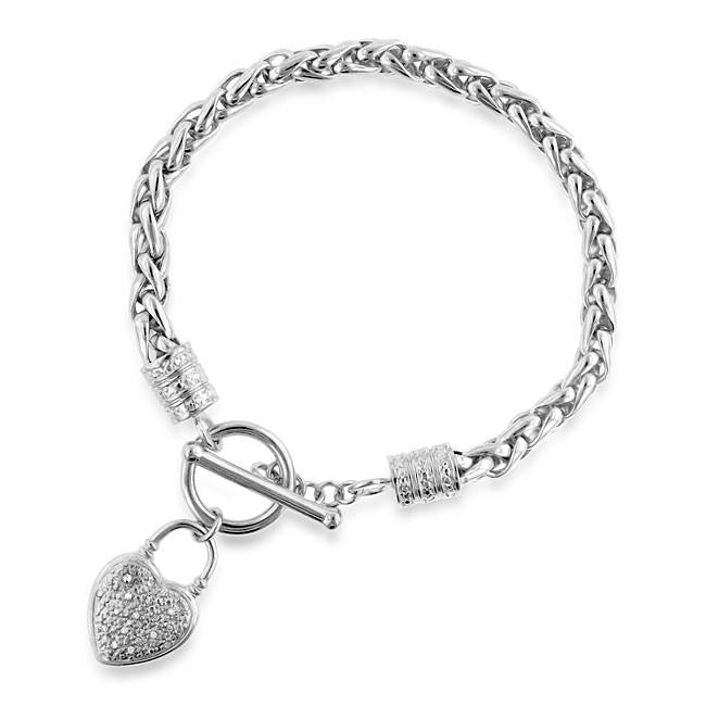 Diamond Accent Heart Charm Toggle Bracelet in Platinum-Plated Bronze - 7.5""