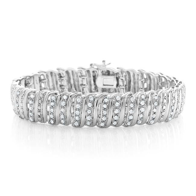 2.00 Carat Diamond Bracelet in 14K White Gold-Plated Bronze - 7.5""