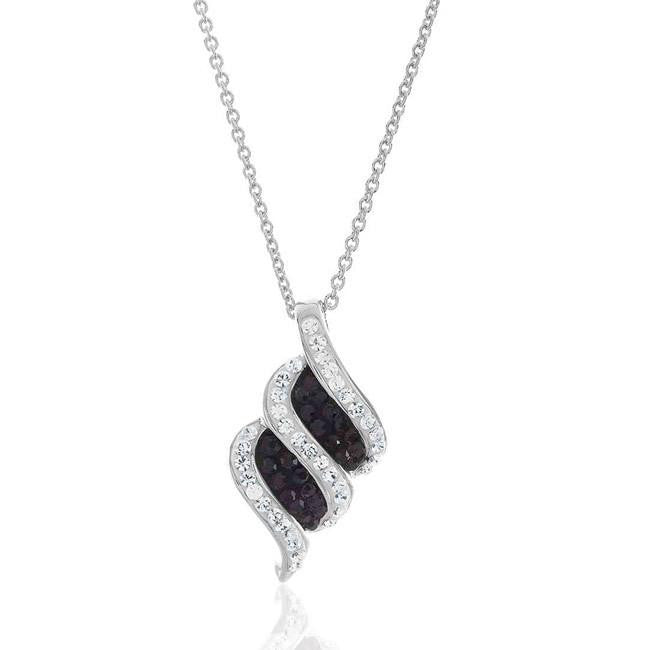 "Black & White Swarovski Crystal Pendant with 18"" Chain"