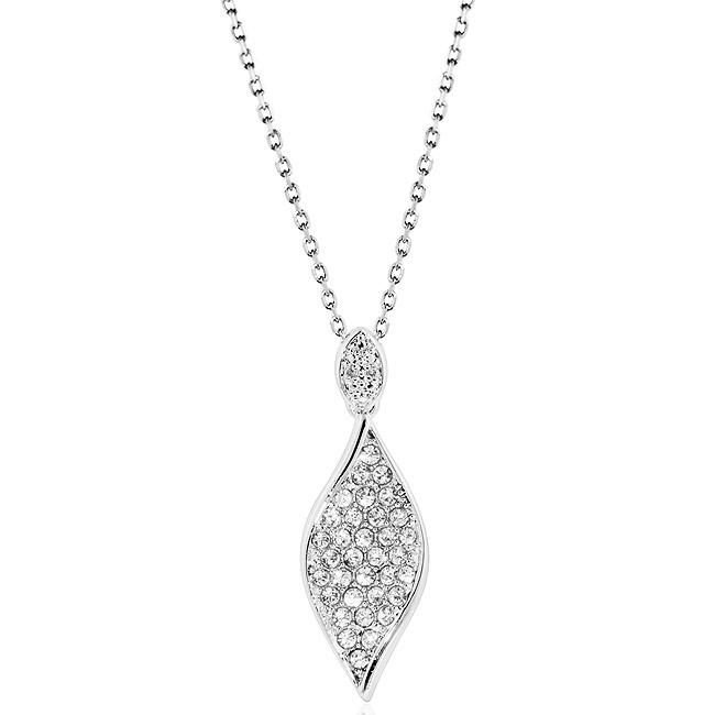 0.01 Carat Diamond Accent & White Crystal Pendant in Platinum-Plated Bronze with Chain