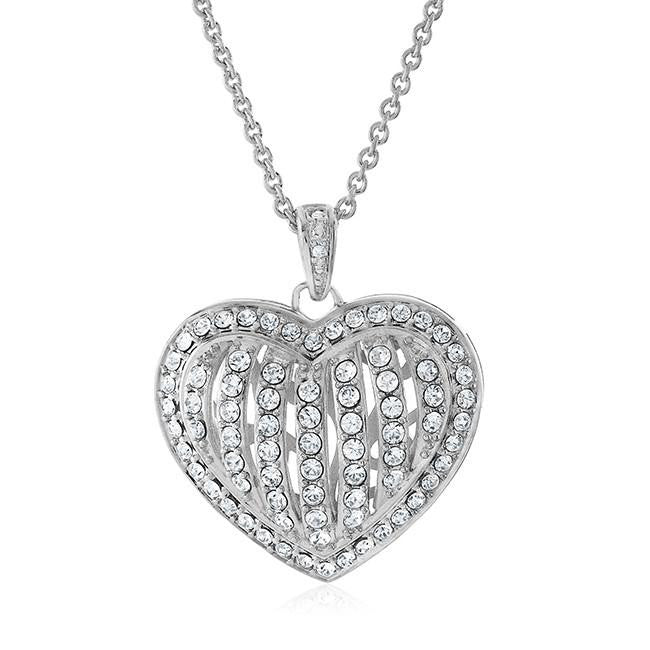 0.01 Ct Diamond & White Crystal Heart Pendant in Platinum-Plated Bronze - 18""