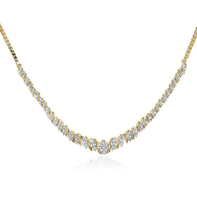 0.50 Carat Diamond Necklace in 14K Yellow Gold-Plated Bronze - 18""