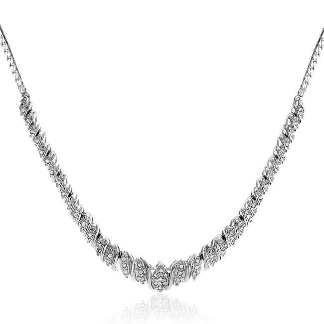 1/2 Carat Diamond Necklace in 14K White Gold/Bronze - 18""
