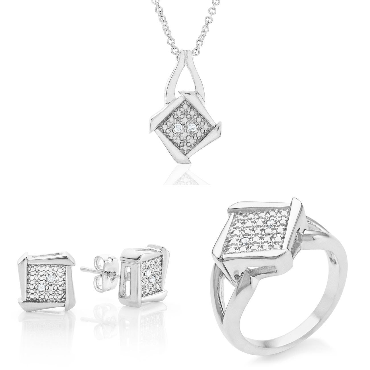 1/10 Carat Diamond Fashion Jewelry Set