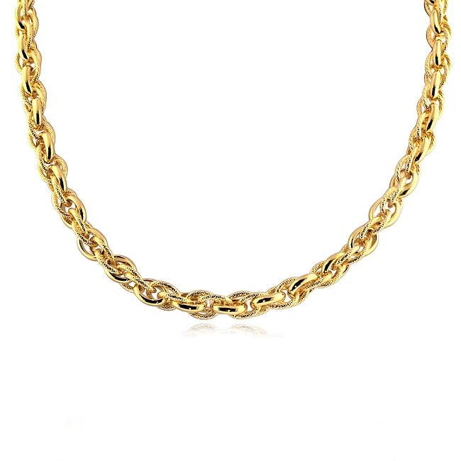 Polished and Mesh Triple-Link Necklace in Gold Over Bronze - 18""