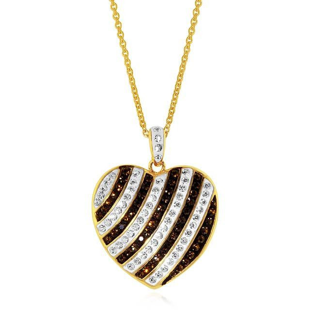 "Gold-Pltaed Bronze Brown & White Swarovski Crystal Heart Pendant with 18"" Chain"