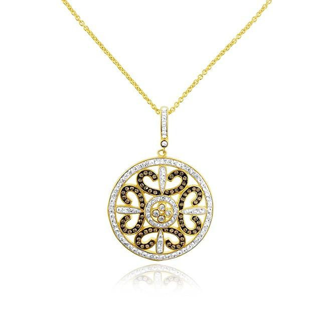 "Gold-Plated Bronze Crystal Medallion Pendant with 18"" Chain"