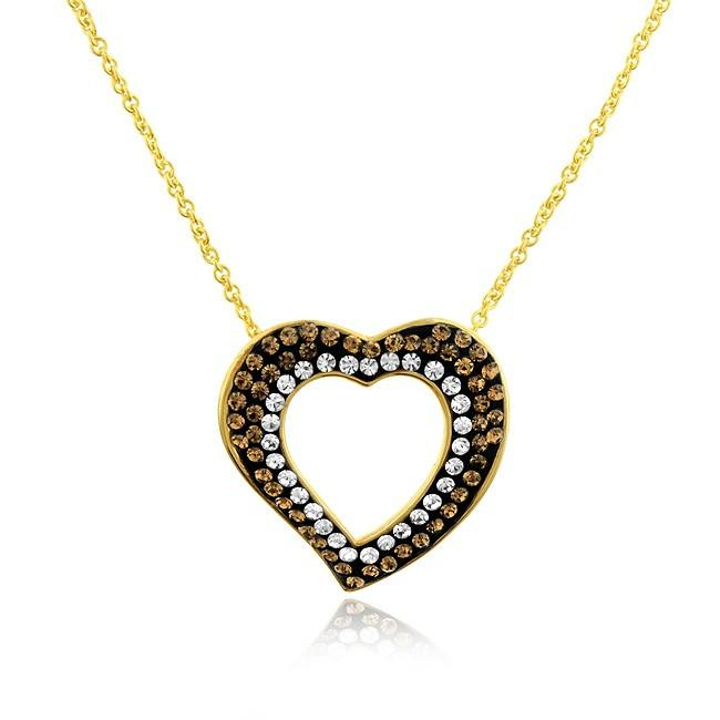 "Gold-Plated Bronze Crystal Heart Pendant with 18"" Chain"