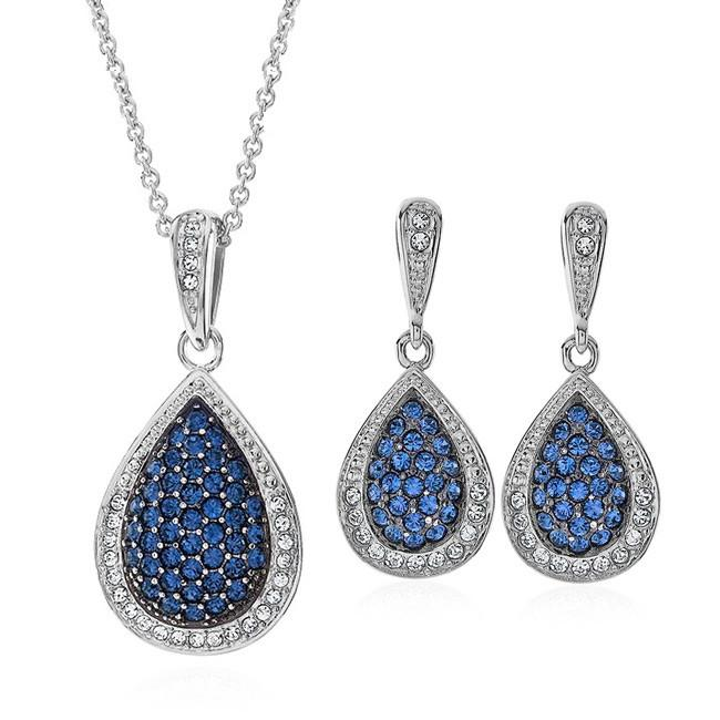Blue and White Swarovski Crystal Necklace & Earrings Set
