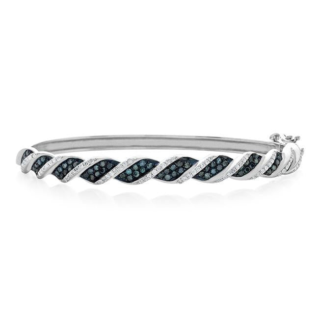 2.00 Carat Blue & White Diamond Bangle Bracelet in Sterling Silver
