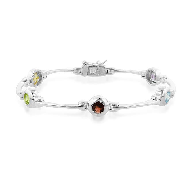 2.50 Carat Genuine Multi-Gemstone Bracelet in Sterling Silver - 7""